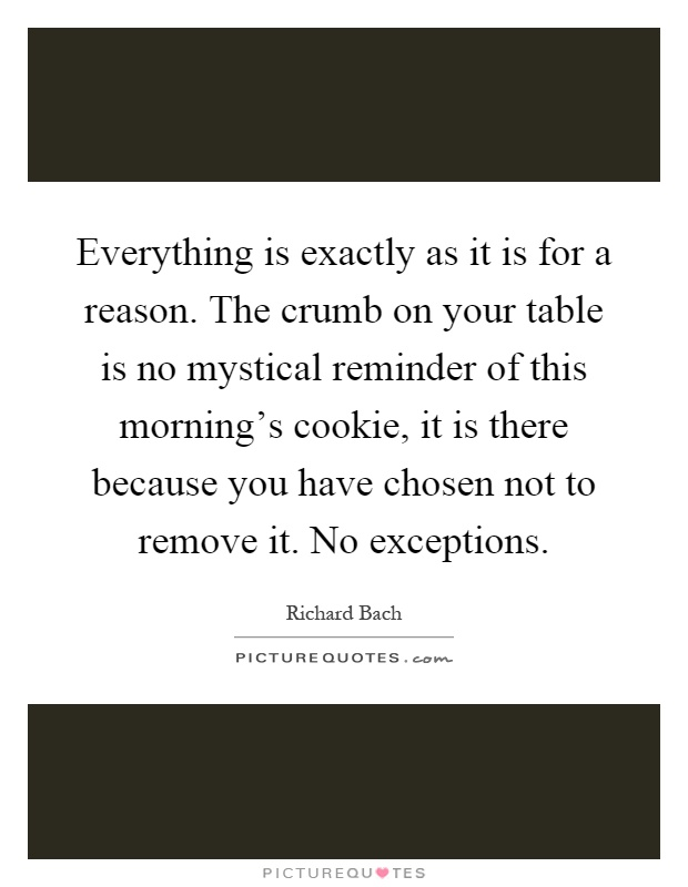 Everything is exactly as it is for a reason. The crumb on your table is no mystical reminder of this morning's cookie, it is there because you have chosen not to remove it. No exceptions Picture Quote #1
