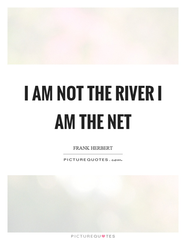 I am not the river I am the net Picture Quote #1