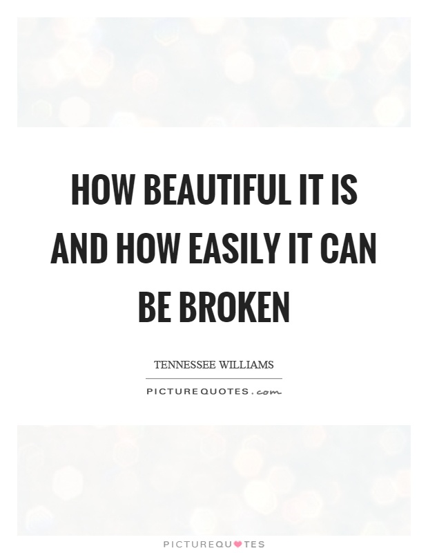How beautiful it is and how easily it can be broken Picture Quote #1