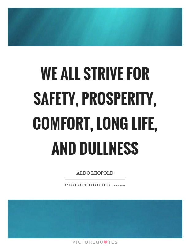 We all strive for safety, prosperity, comfort, long life, and dullness Picture Quote #1