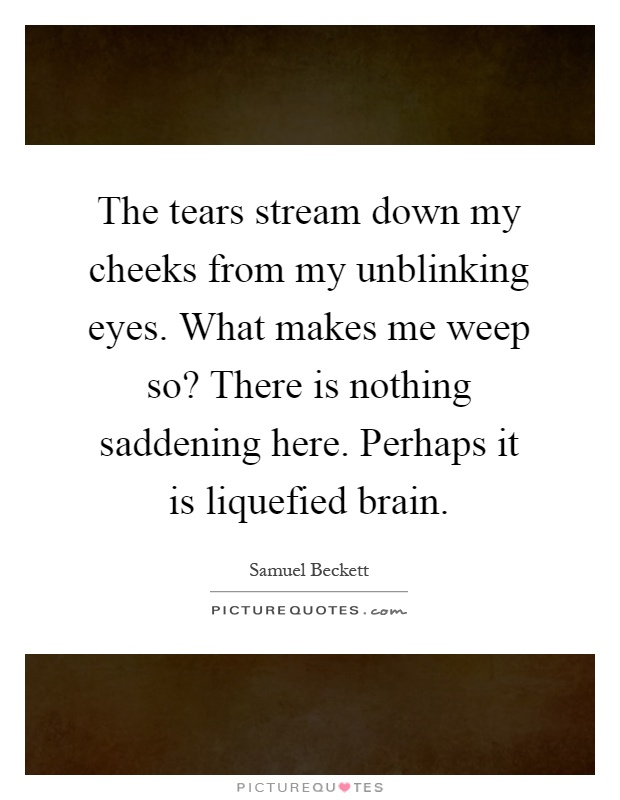 The tears stream down my cheeks from my unblinking eyes. What makes me weep so? There is nothing saddening here. Perhaps it is liquefied brain Picture Quote #1