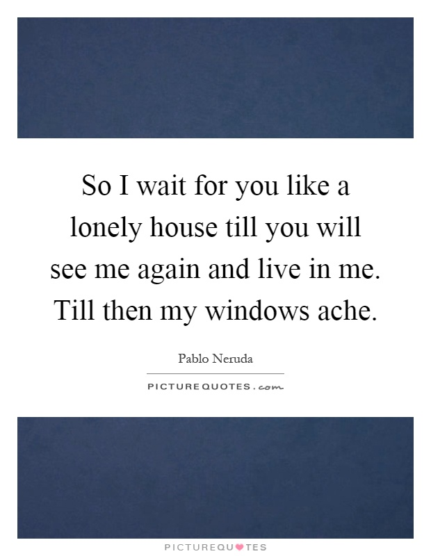 So I wait for you like a lonely house till you will see me again and live in me. Till then my windows ache Picture Quote #1