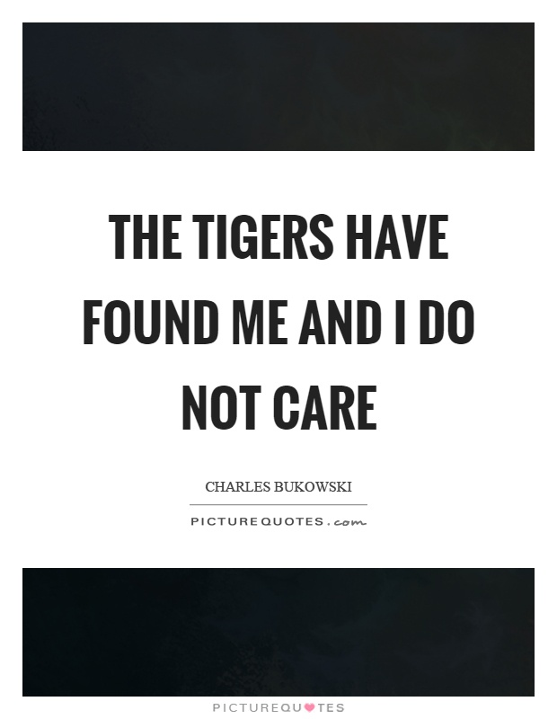 The tigers have found me and I do not care Picture Quote #1