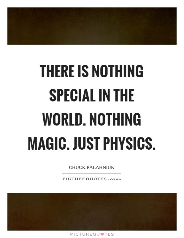 There is nothing special in the world. nothing magic. just physics Picture Quote #1