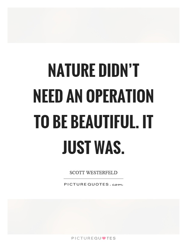 Nature didn't need an operation to be beautiful. It just was Picture Quote #1