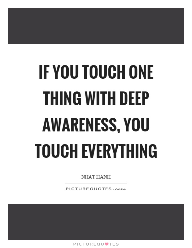 If you touch one thing with deep awareness, you touch everything Picture Quote #1