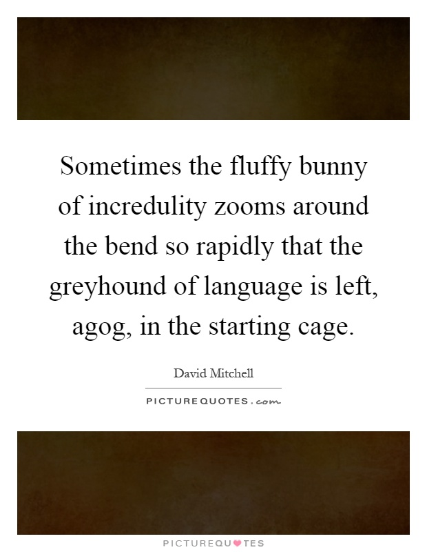 Sometimes the fluffy bunny of incredulity zooms around the bend so rapidly that the greyhound of language is left, agog, in the starting cage Picture Quote #1