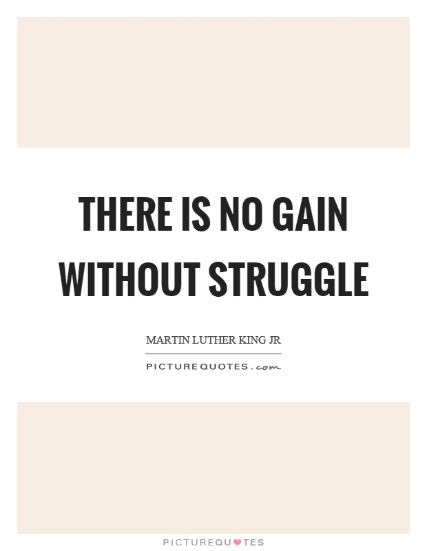 There is no gain without struggle Picture Quote #1