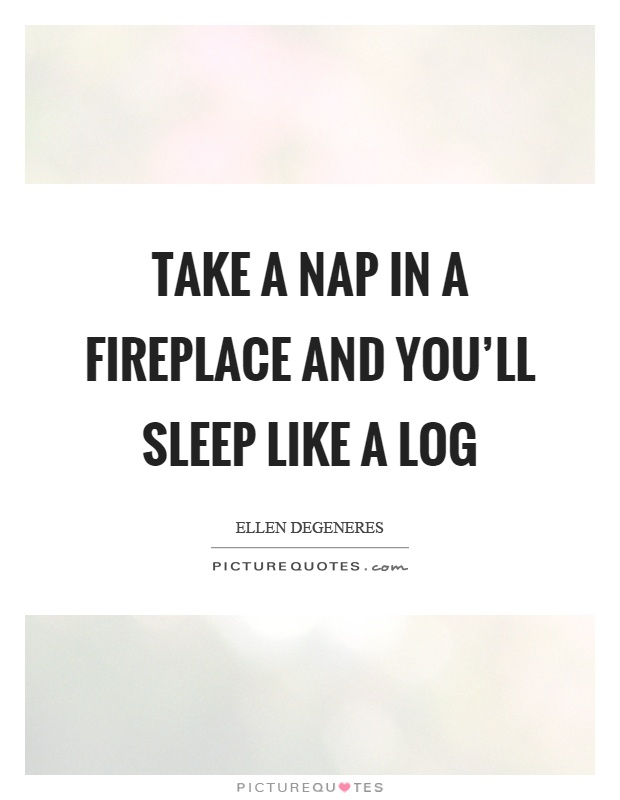 Take a nap in a fireplace and you'll sleep like a log Picture Quote #1