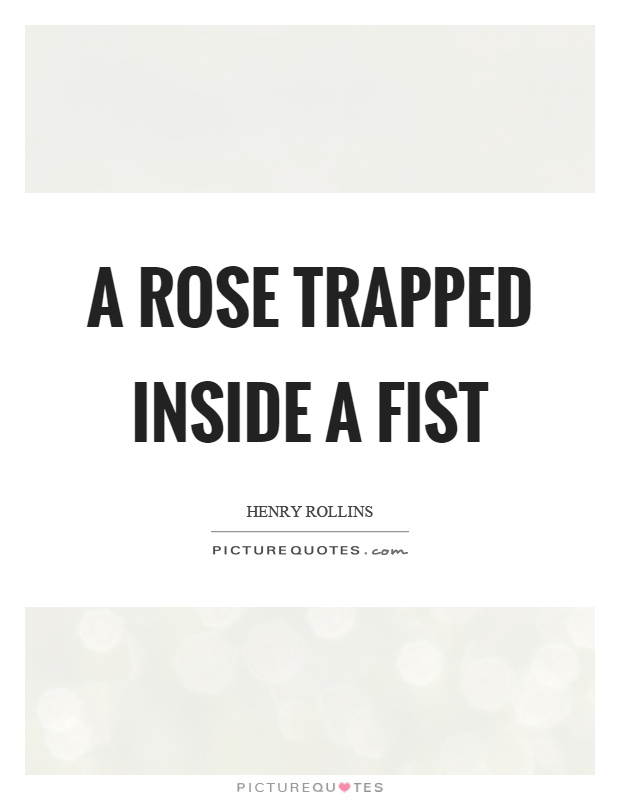 A rose trapped inside a fist Picture Quote #1