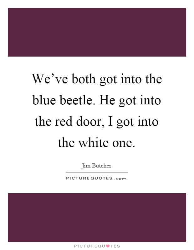 We've both got into the blue beetle. He got into the red door, I got into the white one Picture Quote #1