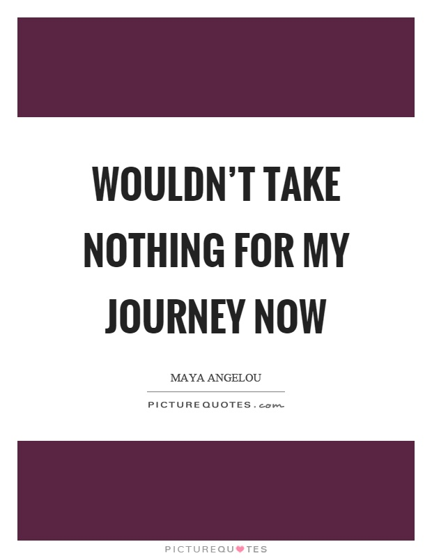 Wouldn't take nothing for my journey now Picture Quote #1