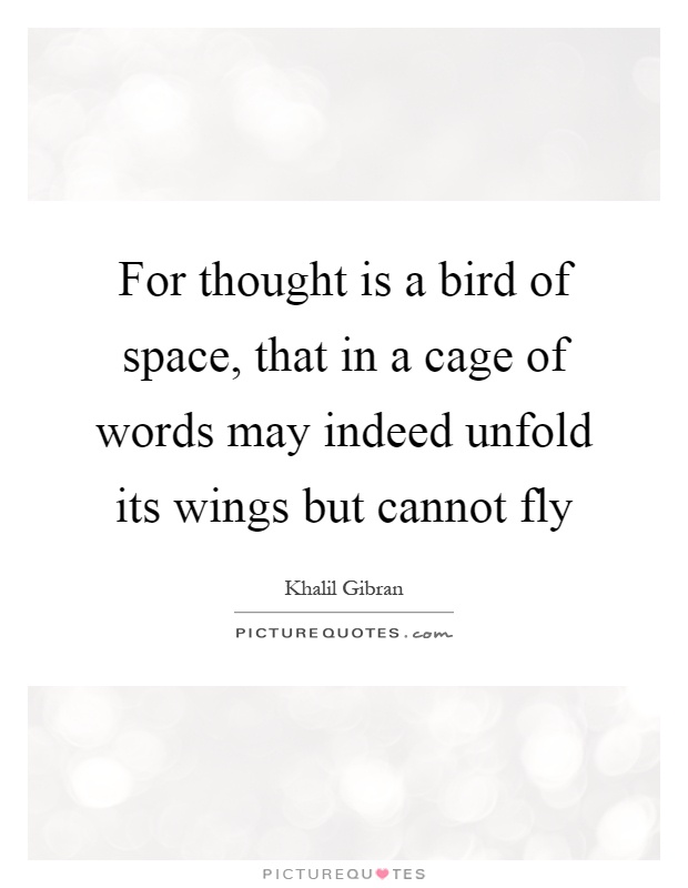 For thought is a bird of space, that in a cage of words may indeed unfold its wings but cannot fly Picture Quote #1