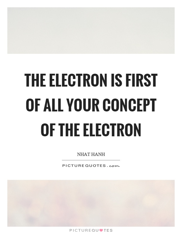 The electron is first of all your concept of the electron Picture Quote #1
