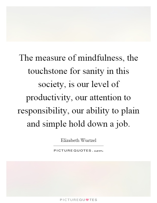 The measure of mindfulness, the touchstone for sanity in this society, is our level of productivity, our attention to responsibility, our ability to plain and simple hold down a job Picture Quote #1