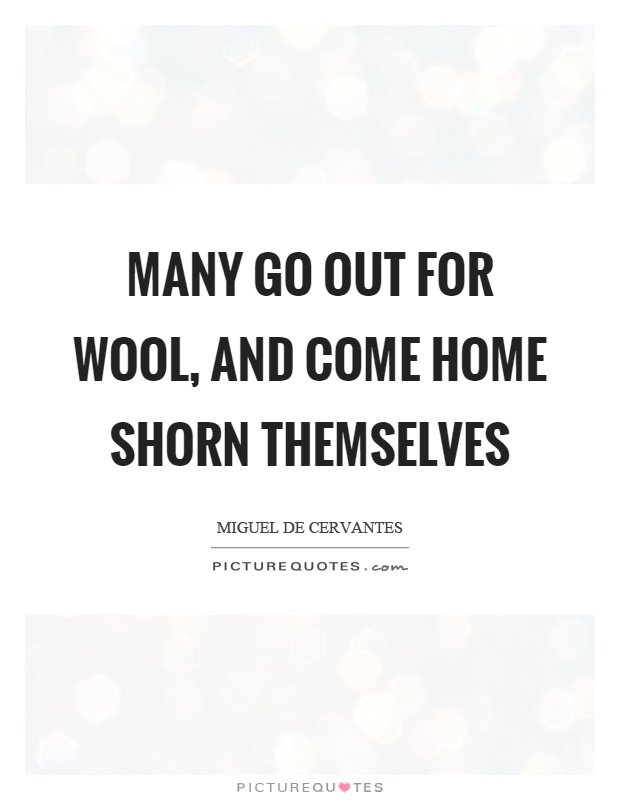 Many go out for wool, and come home shorn themselves Picture Quote #1