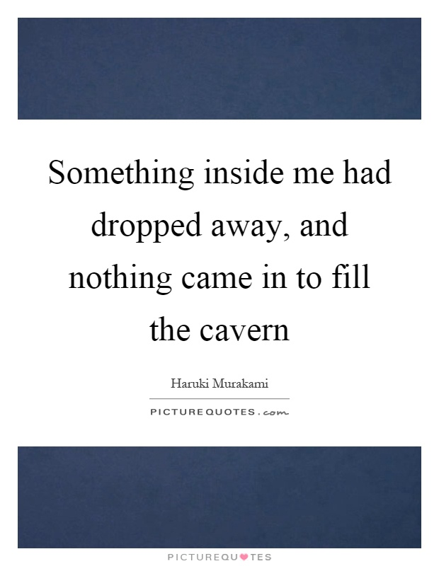 Something inside me had dropped away, and nothing came in to fill the cavern Picture Quote #1