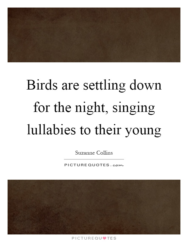 Birds are settling down for the night, singing lullabies to their young Picture Quote #1