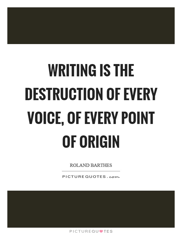 Writing is the destruction of every voice, of every point of origin Picture Quote #1