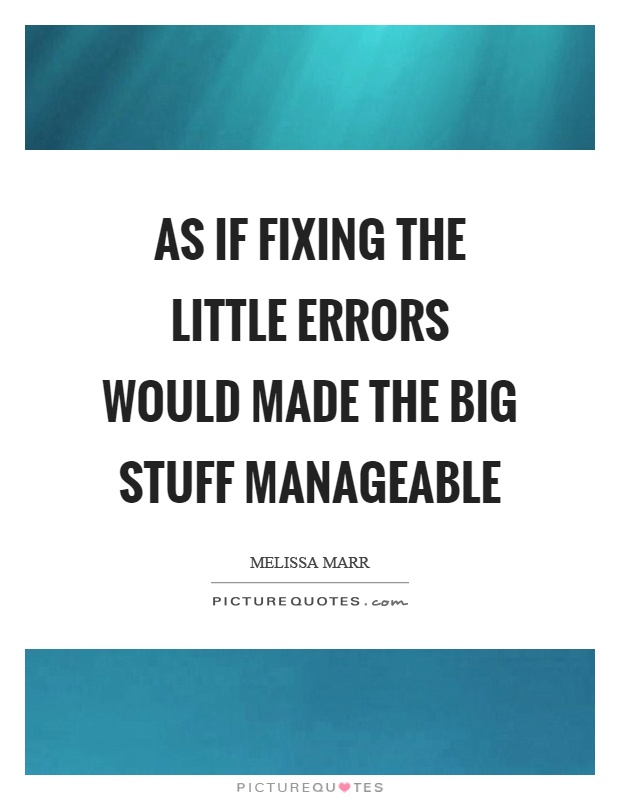 As if fixing the little errors would made the big stuff manageable Picture Quote #1