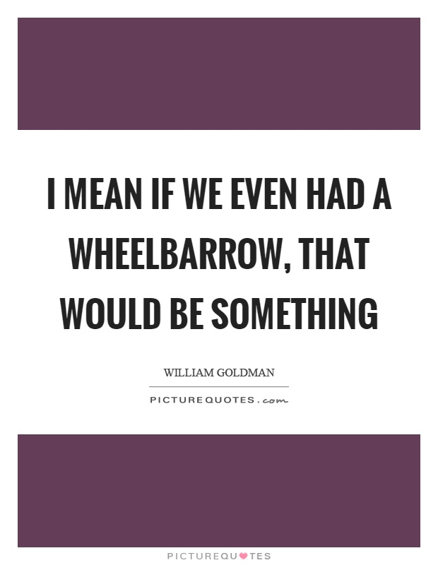 I mean if we even had a wheelbarrow, that would be something Picture Quote #1