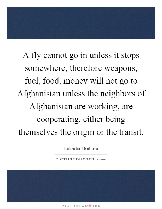 A fly cannot go in unless it stops somewhere; therefore weapons, fuel, food, money will not go to Afghanistan unless the neighbors of Afghanistan are working, are cooperating, either being themselves the origin or the transit Picture Quote #1