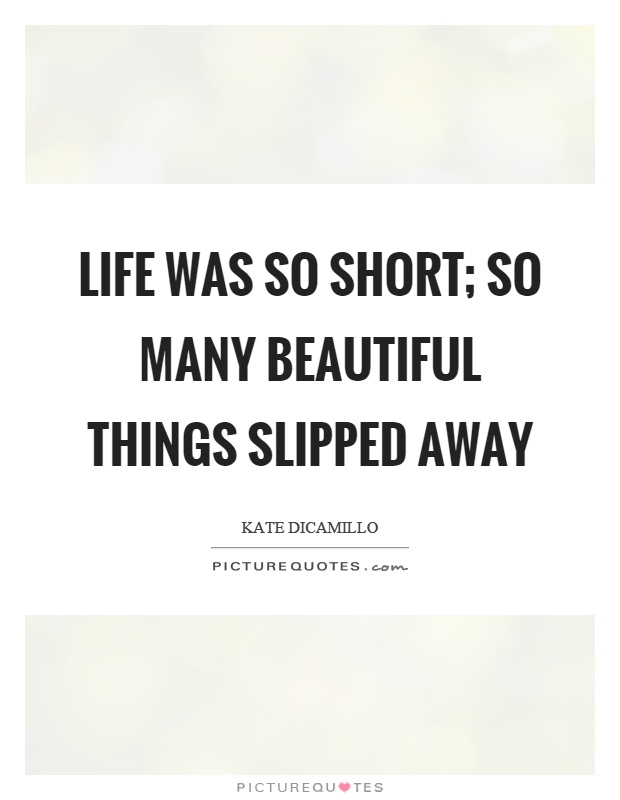 Life was so short; so many beautiful things slipped away Picture Quote #1