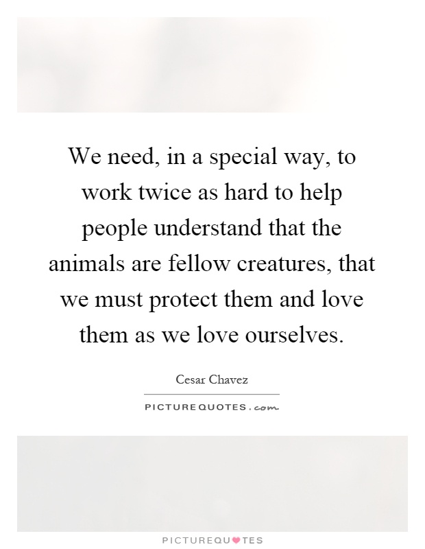 We need, in a special way, to work twice as hard to help people understand that the animals are fellow creatures, that we must protect them and love them as we love ourselves Picture Quote #1