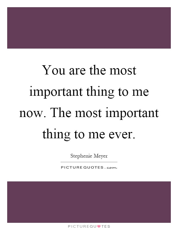 You are the most important thing to me now. The most important thing to me ever Picture Quote #1