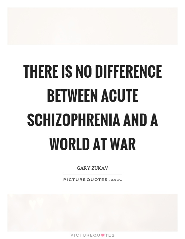 There is no difference between acute schizophrenia and a world at war Picture Quote #1