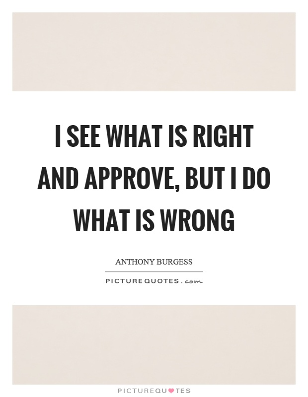 I see what is right and approve, but I do what is wrong Picture Quote #1