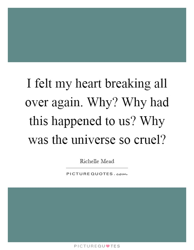 I felt my heart breaking all over again. Why? Why had this happened to us? Why was the universe so cruel? Picture Quote #1