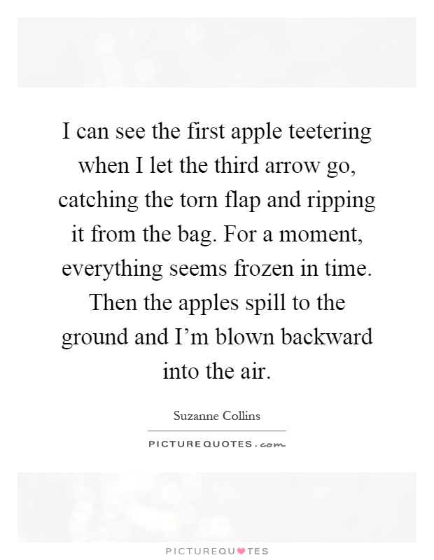 I can see the first apple teetering when I let the third arrow go, catching the torn flap and ripping it from the bag. For a moment, everything seems frozen in time. Then the apples spill to the ground and I'm blown backward into the air Picture Quote #1