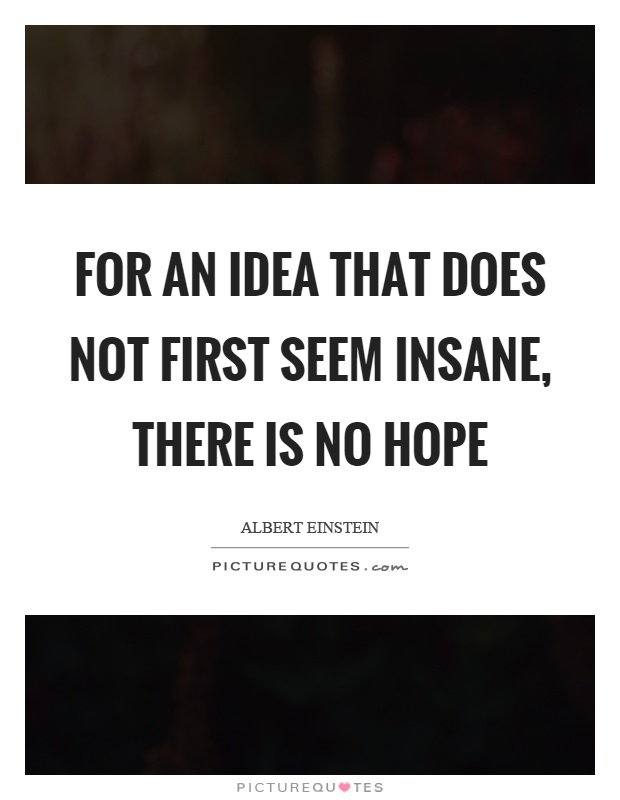 For an idea that does not first seem insane, there is no hope Picture Quote #1