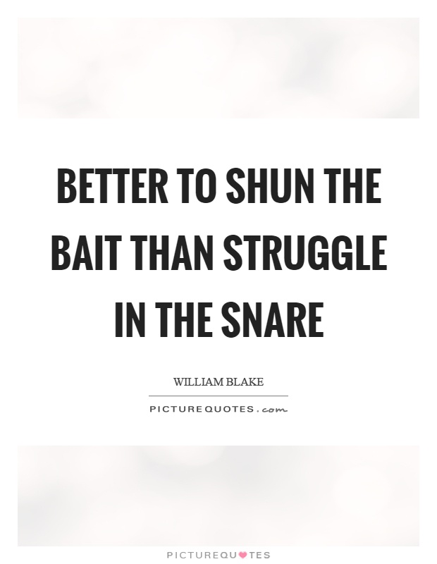 Better to shun the bait than struggle in the snare Picture Quote #1