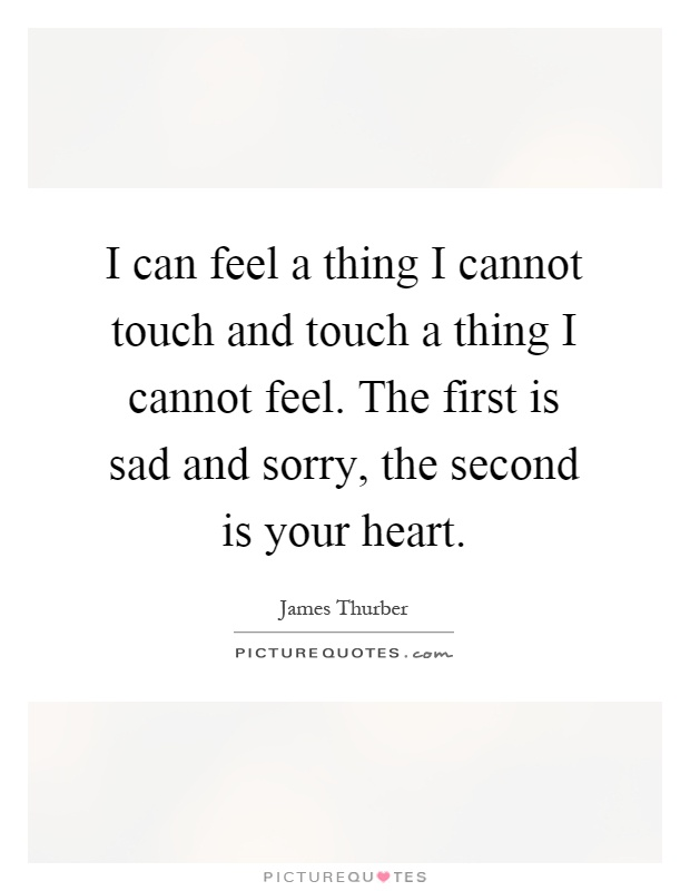 I can feel a thing I cannot touch and touch a thing I cannot feel. The first is sad and sorry, the second is your heart Picture Quote #1