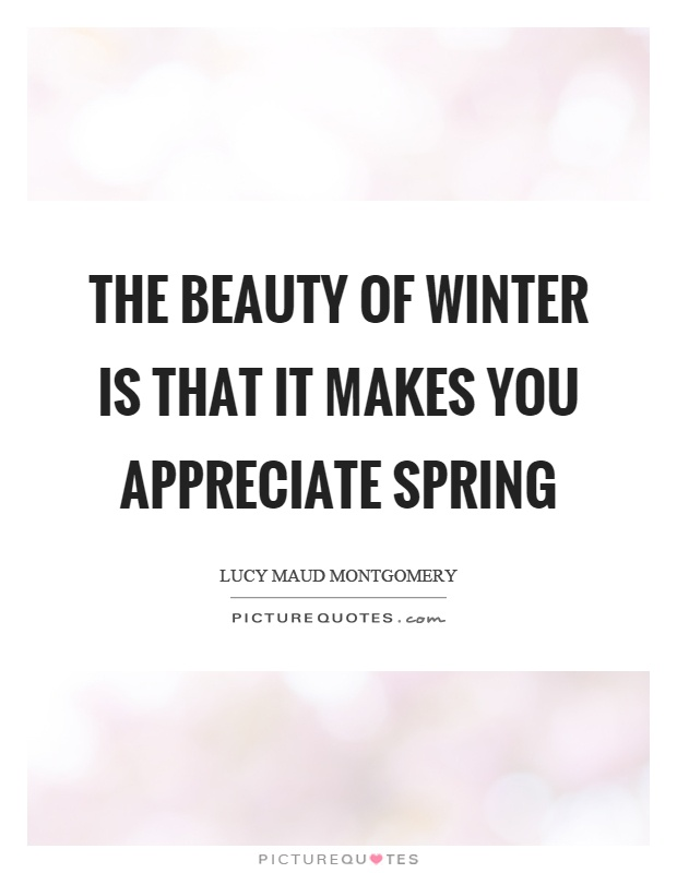The beauty of winter is that it makes you appreciate spring Picture Quote #1