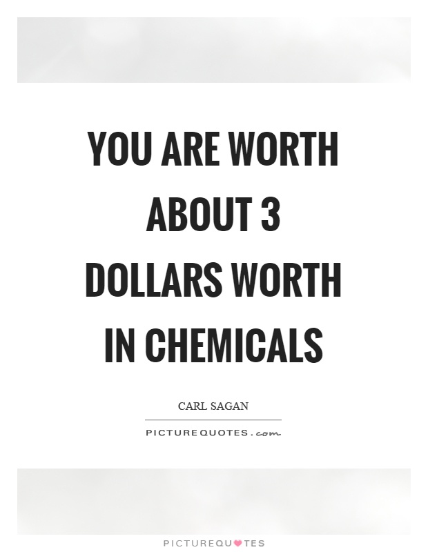 You are worth about 3 dollars worth in chemicals Picture Quote #1