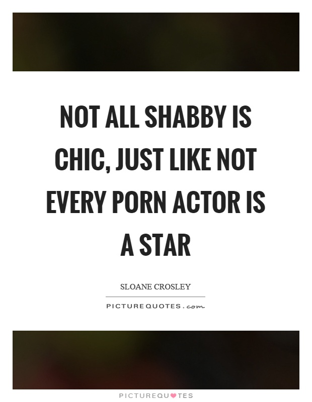 Not all shabby is chic, just like not every porn actor is a star Picture Quote #1