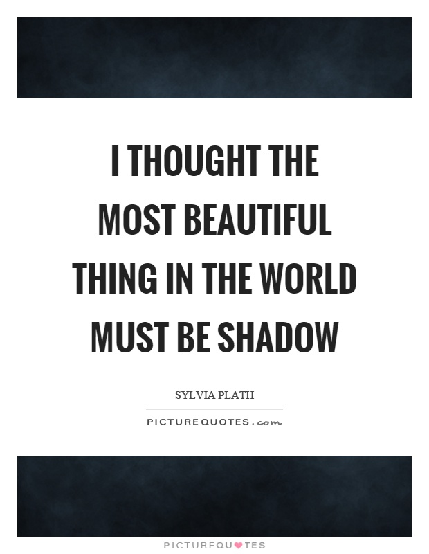 I thought the most beautiful thing in the world must be shadow Picture Quote #1