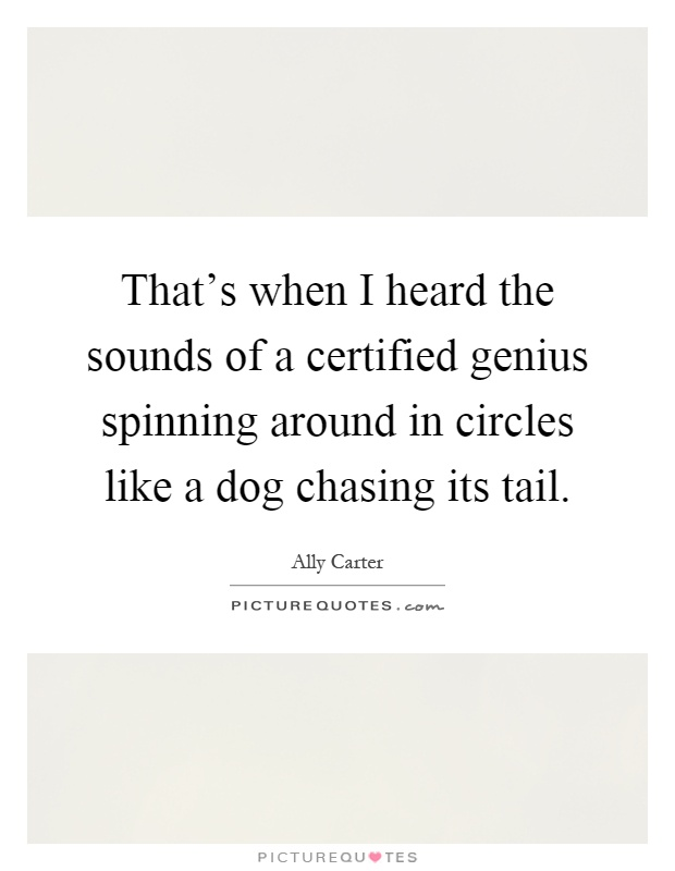 That's when I heard the sounds of a certified genius spinning around in circles like a dog chasing its tail Picture Quote #1