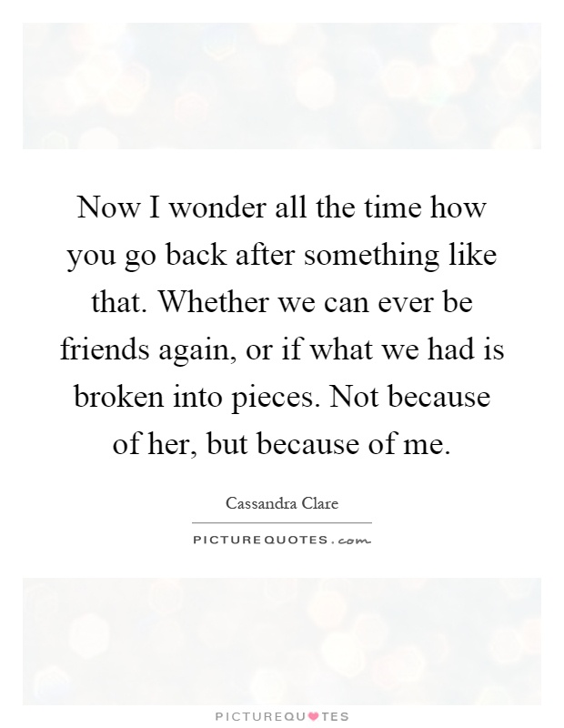 Now I wonder all the time how you go back after something like that. Whether we can ever be friends again, or if what we had is broken into pieces. Not because of her, but because of me Picture Quote #1