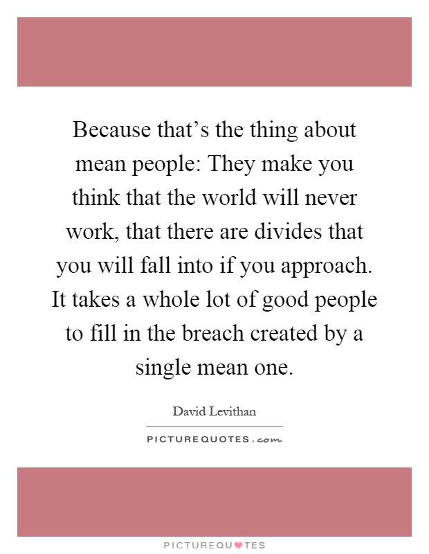 Because that's the thing about mean people: They make you think that the world will never work, that there are divides that you will fall into if you approach. It takes a whole lot of good people to fill in the breach created by a single mean one Picture Quote #1