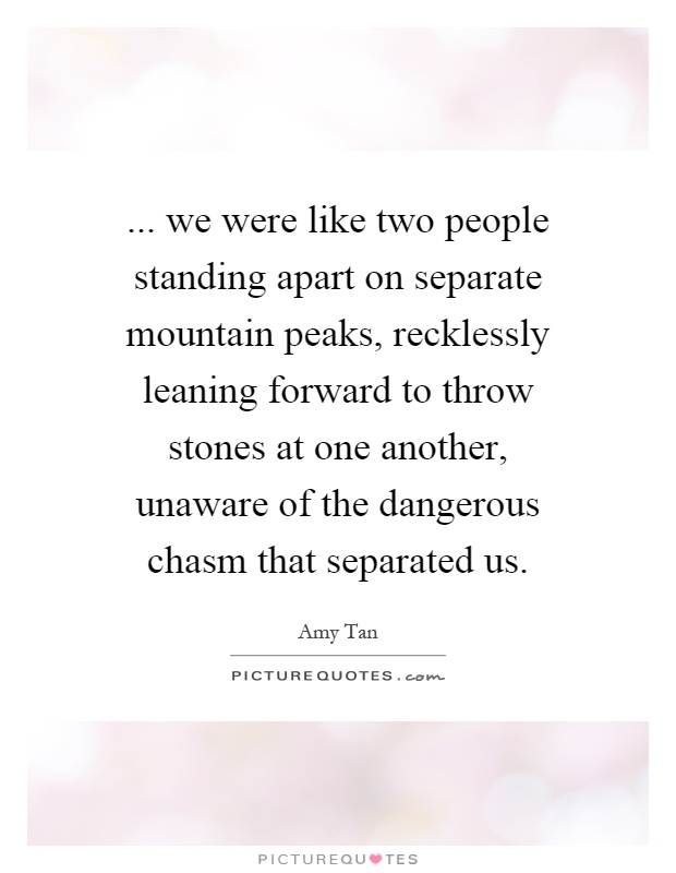 ... we were like two people standing apart on separate mountain peaks, recklessly leaning forward to throw stones at one another, unaware of the dangerous chasm that separated us Picture Quote #1