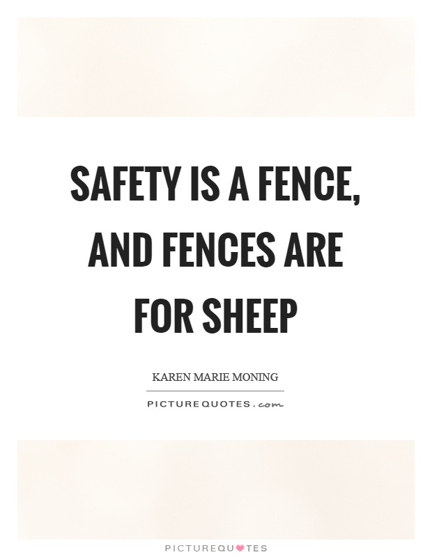 Fences Quotes Amusing Safety Is A Fence And Fences Are For Sheep  Picture Quotes