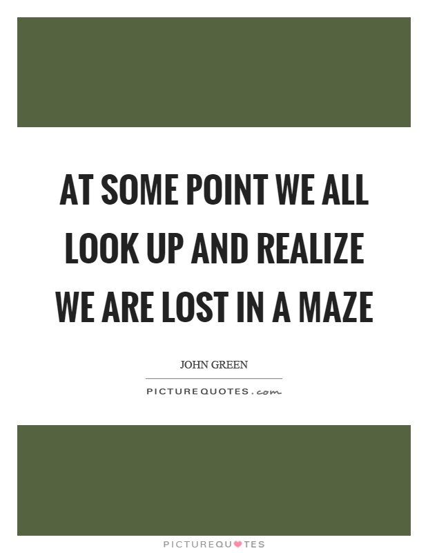 At some point we all look up and realize we are lost in a maze Picture Quote #1
