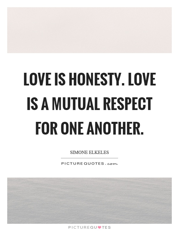 Love is honesty. Love is a mutual respect for one another Picture Quote #1