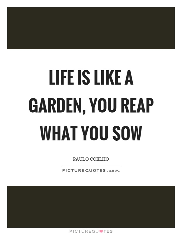 Reap What You Sow Quotes Interesting Life Is Like A Garden You Reap What You Sow  Picture Quotes