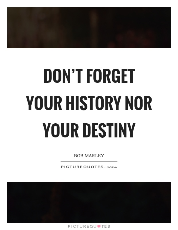 Don't forget your history nor your destiny Picture Quote #1
