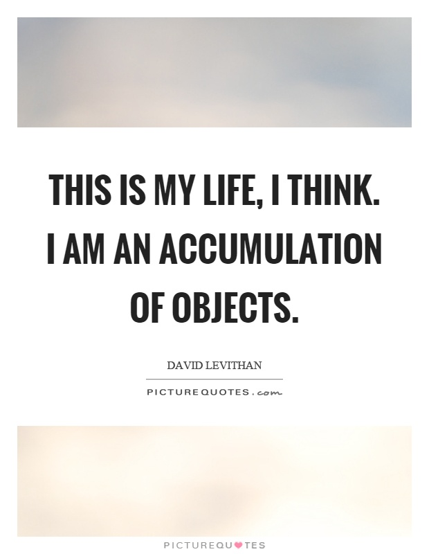This is my life, I think. I am an accumulation of objects Picture Quote #1